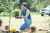 Man planting  potted plants outdoors