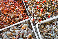 Wide variety of seafood, including shrimps, peeled mussels, chopped squid and surimi, is seen at Mercado de Mariscos seafood and fish market in Panama City, Panama, 1 February 2015.