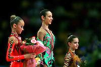 "(Center in focus) Daria Kushnerova of Ukraine celebrates win during event finals at 2007 World Cup Kiev, ""Deriugina Cup"" in Kiev, Ukraine on March 18, 2007. Daria won the junior All-Around the day before."