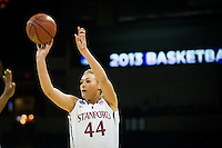 SPOKANE, WA - MARCH 30, 2013: Joslyn Tinkle scores from the outside during the third round NCAA Championships game matching Stanford vs Georgia at the Spokane Arena. The Cardinal fell to the Bulldogs 61-59.