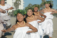 Dancers from Halau Keali'i O Nalani honor the Sea with a sacred dance during the 2011 World Festival of Sacred Music Opening at Santa Monica Beachon Saturday, October 1, 2011.