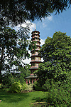 Chinese Pagoda in the grounds of Kew gardens,London, England.