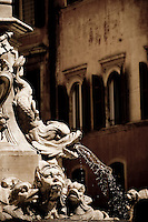 Fountain in 'Piazza della Rotonda' erected in 1578, in the historic centre of Rome, Italy