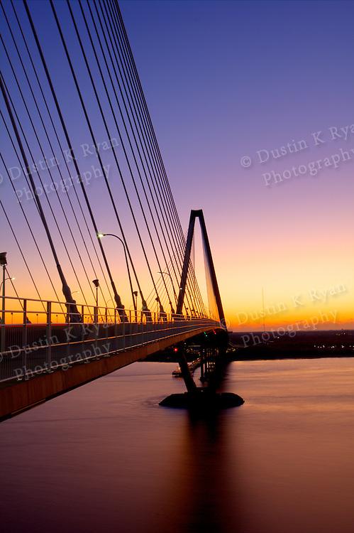 Arthur Ravenel Jr Bridge Sunrise Charleston South Carolina over the cooper river