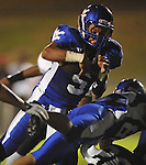 Water Valley's E.J. Bounds (5) scores vs. Coffeeville in Water Valley, Miss. on Friday, August 26, 2011.