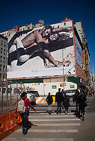 A Calvin Klein billboard in the Soho neighborhood of New York on Saturday, March 6, 2010 features the actress Eva Mendes.  Klein's advertisements use sex and provocative images to test society's cultural and moral boundries. (© Richard B. Levine)