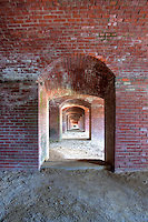 Interior passageway between the enlisted men's quarters of Fort Knox, in Prospect, Maine.  The fort was built to protect the entrance to the Penobscot river.