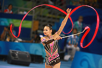 August 23, 2008; Beijing, China; Rhythmic gymnast Aliya Yussupova of Kazakhstan performs with ribbon on way to placing 5th in the All-Around final at 2008 Beijing Olympics..
