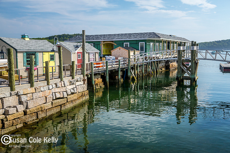 Shops on the Harborside boardwalk in Bar Harbor, Maine, USA, WIM