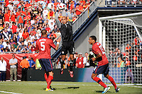 United States goalkeeper Tim Howard (1) grabs a ball. The men's national team of Spain (ESP) defeated the United States (USA) 4-0 during a International friendly at Gillette Stadium in Foxborough, MA, on June 04, 2011.
