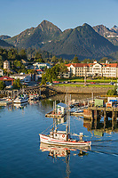 Commercial trolling vessel Sultan passes through Sitka Channel, Sitka, Alaska.