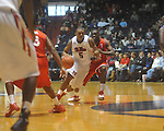 Ole Miss guard Dundrecous Nelson (5)  is defnded by Georgia's Sherrard Brantley (23) at the C.M. &quot;Tad&quot; Smith Coliseum in Oxford, Miss. on Saturday, January 15, 2011. Georgia won 98-76.  (AP Photo/Oxford Eagle, Bruce Newman)