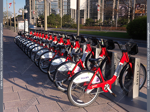 Rental bicycles, Bixi bicycle rental rack on a street of Ottawa, Ontario, Canada 2012