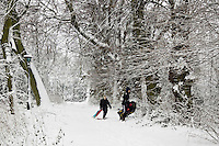Boys carry sledges across snow-covered Hampstead Heath, North London, United Kingdom