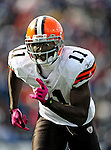 11 October 2009: Cleveland Browns' rookie wide receiver Mohamed Massaquoi in action during a game against the Buffalo Bills at Ralph Wilson Stadium in Orchard Park, New York. The Browns defeated the Bills 6-3 for Cleveland's first win of the season...Mandatory Photo Credit: Ed Wolfstein Photo