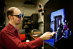 University of California, Davis Assistant Research Scientist Oliver Kreylos demonstrates his use of a hacked Xbox Kinect to create a 3D interface in his lab at UC Davis, November 19, 2010.