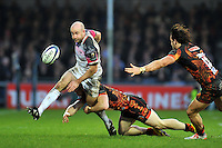 Brendon Leonard of the Ospreys puts boot to ball. European Rugby Champions Cup match, between Exeter Chiefs and the Ospreys on January 24, 2016 at Sandy Park in Exeter, England. Photo by: Patrick Khachfe / JMP