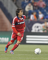 Chicago Fire substitute midfielder Rafael Robayo (88) brings the ball forward. In a Major League Soccer (MLS) match, the New England Revolution defeated Chicago Fire, 2-0, at Gillette Stadium on June 2, 2012.