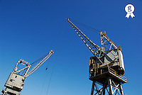 Two cranes at harbor (Licence this image exclusively with Getty: http://www.gettyimages.com/detail/94433140 )