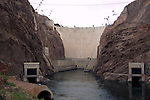 Hoover Dam on border of Arizona, AZ, Nevada, NV, flood control, drinking water source, Colorado River, image nv406-18463.Photo copyright: Lee Foster, www.fostertravel.com, lee@fostertravel.com, 510-549-2202