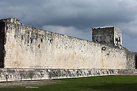 Wall of the Game of Ball, with the Ring shaped like coiled serpents, Ball Court, Toltec Architecture, 900-1100 AD, Chichen Itza, Yucatan, Mexico. Picture by Manuel Cohen