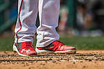 11 September 2016: Washington Nationals outfielder and Baseball America top prospect Trea Turner sports his Under Armour cleats as he steps up to bat against the Philadelphia Phillies at Nationals Park in Washington, DC. The Nationals edged out the Phillies 3-2 to take the rubber match of their 3-game series. Mandatory Credit: Ed Wolfstein Photo *** RAW (NEF) Image File Available ***