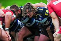 Nick Auterac of Bath Rugby prepares to scrummage against his opposite number. Pre-season friendly match, between the Scarlets and Bath Rugby on August 20, 2016 at Eirias Park in Colwyn Bay, Wales. Photo by: Patrick Khachfe / Onside Images