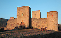 Chateau de Puivert, a Cathar castle rebuilt in the 13th and 14th centuries in Puivert, Quercob, Aude, France. This was a military castle, built for lookout and defence, and has a square keep tower 35m high, and 5 remaining towers of the original 8. The castle is privately owned and is listed as a historic monument. Picture by Manuel Cohen