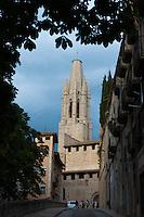 Bell tower of Basílica de Sant Feliu in Girona, Catalonia, Spain