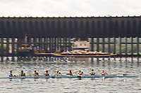 Rowing in the lower harbor of Marquette Michigan on Lake Superior.