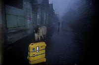 My Roncato suitcase in the predawn light of Varanasi, India - 1996.