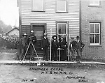 Hopedale OH:  Engineers and Surveyors posing for a progress photograph outside the company office - 1903.   The Pittsburgh, Toledo and Western Railroad company, owned by the famous George J. Gould,  hired Brady Stewart to document the track and tunnel construction between Hopedale Ohio and downtown Pittsburgh. Brady Stewart is second from right in photo.