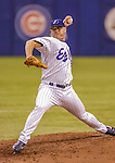 4 September 2004: Montreal Expos pitcher Joe Horgan, on the mound against the Atlanta Braves at Olympic Stadium in Montreal, Quebec. The Braves shut out the Expos 9-0 in the divisional series game. Mandatory Credit: Ed Wolfstein Photo