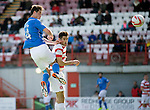 Hamilton Academical St Johnstone....04.04.15<br /> Brian Graham scores fro saints<br /> Picture by Graeme Hart.<br /> Copyright Perthshire Picture Agency<br /> Tel: 01738 623350  Mobile: 07990 594431