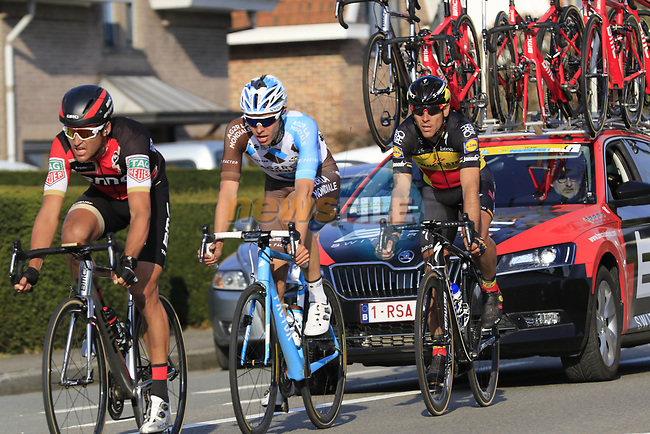 The leading trio of riders Greg Van Avermaet (BEL) BMC leads Oliver Naesen (BEL) AG2R and Philippe Gilbert (BEL) Quick-Step Floors with 12k to go during the 60th edition of the Record Bank E3 Harelbeke 2017, Flanders, Belgium. 24th March 2017.<br /> Picture: Eoin Clarke | Cyclefile<br /> <br /> <br /> All photos usage must carry mandatory copyright credit (&copy; Cyclefile | Eoin Clarke)