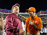 Florida State head coach Jimbo Fisher talks with Clemson head coach Dabo Swinney at prior to the start of an NCAA college football game in Tallahassee, Fla., Saturday, Oct. 29, 2016. (AP Photo/Mark Wallheiser)