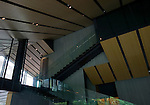 Photo shows part of the interior of the Nezu Museum in, Tokyo, Japan on 17 Sept. 2012. The  museum was  first conceptualized by pre-war industrialist Kachiro Nezu, who wanted to find a place to display and store his collection of ancient Asian artworks. The building was designed by architect Kuma Kengo. Photographer: Robert Gilhooly