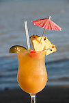 Hawaii: Molokai, Hotel Molokai, scene of Friday night entertainment by locals at the Hotel Molokai, with singers, ukulele strummers, hula dancers, and good food, such as coconut shrimp, and drink, such as rum mai tais. .Photo himolo180-71782..Photo copyright Lee Foster, www.fostertravel.com, lee@fostertravel.com, 510-549-2202