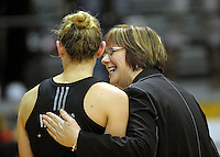 NZ coach Ruth Aitken celebrates victory with Silver Ferns captain Casey Williams. International Netball  - New Zealand Silver Ferns v Australian Diamonds Constellation Cup match at TSB Bank Arena, Wellington on Thursday, 2 September 2010. Photo: Dave Lintott/lintottphoto.co.nz.