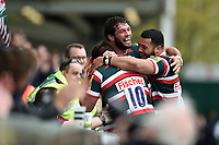 Freddie Burns of Leicester Tigers celebrates a first half try with team-mates Dom Barrow and Ellis Genge. Aviva Premiership match, between Leicester Tigers and Sale Sharks on April 29, 2017 at Welford Road in Leicester, England. Photo by: Patrick Khachfe / JMP