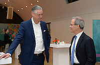 20161216 - AMSTERDAM , NETHERLANDS : reception prior to the event pictured with Henk Markerink ( CEO Amsterdam Arena ) and Uefa Giorgio Marchetti (r) during the UEFA EURO 2020 Host City Logo Launch event at the Hermitage Amsterdam Venue in Amsterdam , The Netherlands , Friday 16 th December 2016 . PHOTO UEFA.COM | SPORTPIX.BE | DAVID CATRY