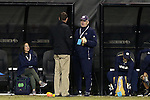 11 November 2015: Notre Dame head coach Bobby Clark (SCO) (right) talks with Wake Forest head coach Bobby Muuss (left). The Wake Forest University Demon Deacons hosted the University of Notre Dame Fighting Irish at Spry Stadium in Winston-Salem, North Carolina an Atlantic Coast Conference Tournament Semifinal game and a 2015 NCAA Division I Men's Soccer match. Notre Dame won the game 1-0 and advanced to the ACC Championship final.