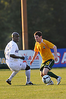 Mike Ambersley  #15 AC St Louis.Nelson Akwari...AC St Louis and Vancouver Whitecaps played to a 0-0 tie at Anheuser-Busch Soccer Park, Fenton, Missouri.