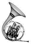 X-ray image of a French horn (black on white) by Jim Wehtje, specialist in x-ray art and design images.