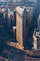 US, New York City. View from the Empire State Building observation deck. Flatiron Building.