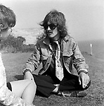 The Beatles 1967 George Harrison during Magical Mystery Tour at the Atlantic Hotel in Newquay, Cornwall..© Chris Walter..