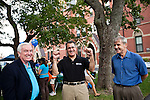09/25/2011 - Medford/Somerville, Mass. - Medford Mayor Michael McGlynn, left, and Somerville Alderman John M Connolly (At-Large), right, with Tufts President Tony Monaco at Community Day on Sunday, September 25, 2011. (Jodi Hilton for Tufts University)