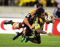 Ma'a Nonu scores the decisive try to allow Piri Weepu's conversion to give the Hurricanes the lead for the first time shortly before the final whistle during the Super 14 rugby match between the Hurricanes and Chiefs at Westpac Stadium, Wellington, NewZealand on Saturday, 1 May 2010. Photo: Dave Lintott / lintottphoto.co.nz
