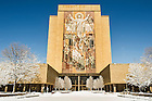 Mar.12, 2014; Hesburgh Library after snow storm. Photo by Barbara Johnston/University of Notre Dame