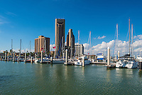 Took this of the marina full of all types of boat from the marina across the water showing some of the Corpus Christi skyline.